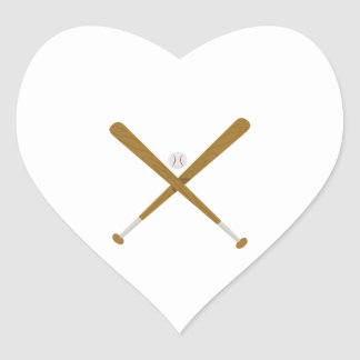 Palo y bola cruzados pegatina en forma de corazón