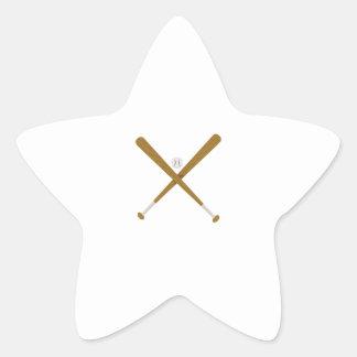 Palo y bola cruzados pegatina en forma de estrella