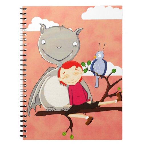 Palo y chica gigantes en rama de árbol libreta espiral