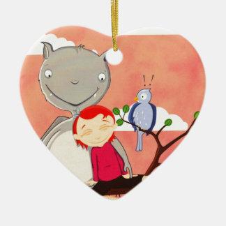Palo y chica gigantes en rama de árbol ornaments para arbol de navidad