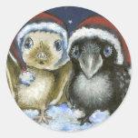 Palo y cuervo etiquetas redondas