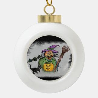 ¡Palo y gato, feliz Halloween de la bruja! Adorno De Cerámica En Forma De Bola