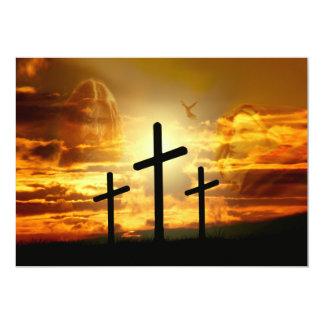 """Paloma bendecida Jesucristo Calvery del Virgen Invitación 5"""" X 7"""""""