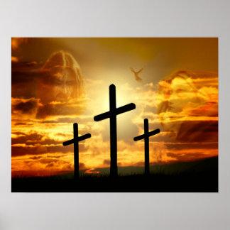Paloma bendecida Jesucristo Calvery del Virgen Póster