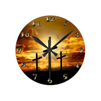 Paloma bendecida Jesucristo Calvery del Virgen Reloj Redondo Mediano