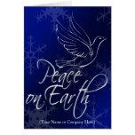 Paloma blanca azul, paz en navidad de la tierra felicitaciones