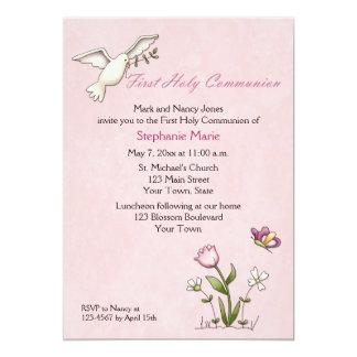"""Paloma blanca, comunión santa de la flor rosada invitación 5"""" x 7"""""""