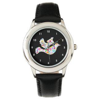 Paloma blanca de flores relojes de mano