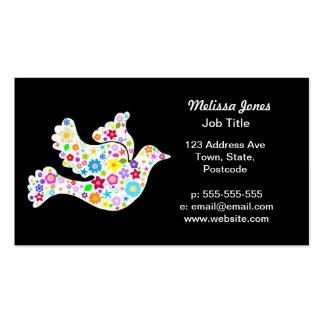 Paloma blanca de flores plantillas de tarjeta de negocio