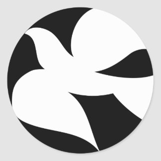 Paloma circular de la paz etiqueta redonda