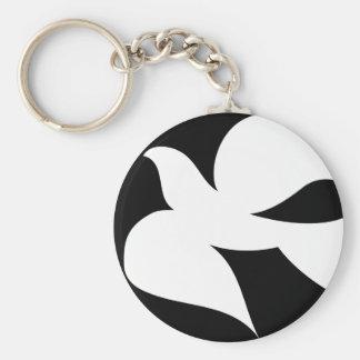 Paloma circular de la paz llavero redondo tipo pin