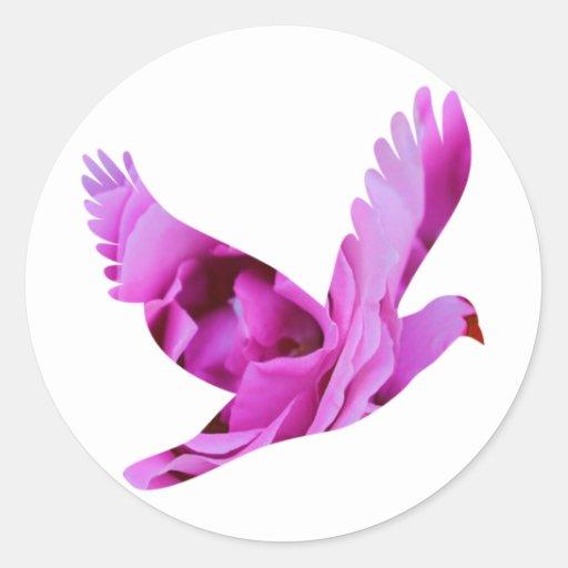 Paloma color de rosa púrpura del ala pegatina redonda