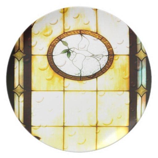 Paloma de cristal de Windows de la mancha Platos Para Fiestas