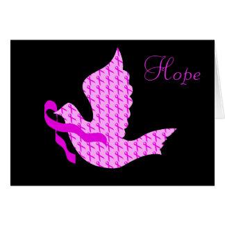 Paloma de la cinta del rosa de la esperanza - cánc tarjeta de felicitación