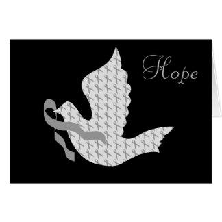 Paloma de la cinta gris de la esperanza - cáncer d tarjeta de felicitación