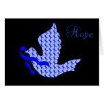 Paloma de la esperanza Blue Ribbon - cáncer de col Tarjeton