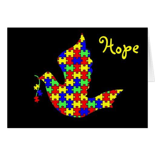 Paloma de la esperanza - pedazos del rompecabezas felicitaciones