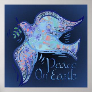 Paloma de la impresión de medianoche de la paz póster