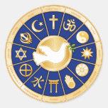 Paloma de la mandala de la paz etiqueta redonda