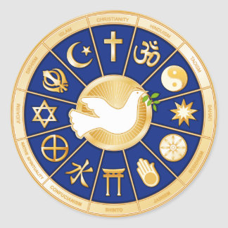Paloma de la mandala de la paz pegatina redonda