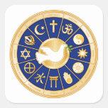 Paloma de la mandala de la paz pegatina cuadradas