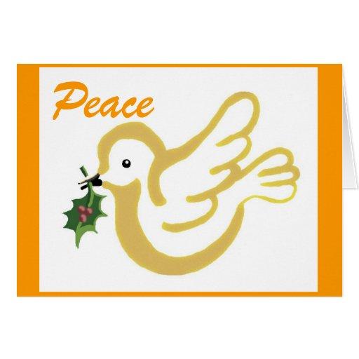 Paloma de la paz del navidad de oro tarjeta de felicitación