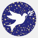 Paloma de la paz etiqueta redonda