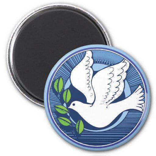 Paloma de la paz imán redondo 5 cm