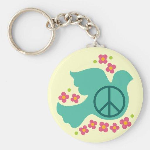 Paloma de la paz llavero redondo tipo pin