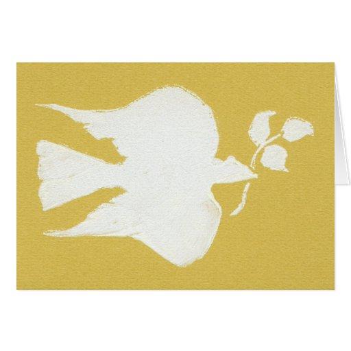 Paloma de la paz, oro tarjeta de felicitación