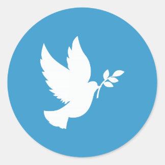 Paloma de la paz etiquetas redondas