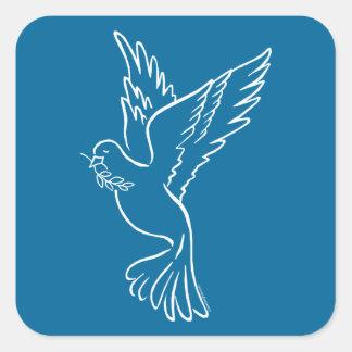 Paloma de la paz pegatina cuadrada