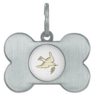 Paloma de la paz placa de mascota