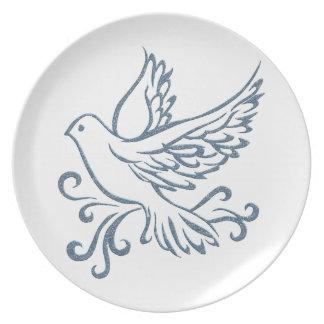 Paloma de la paz plato para fiesta