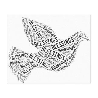 Paloma de las bendiciones, negra en el blanco, impresión de lienzo