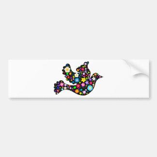 Paloma de las flores del verano etiqueta de parachoque