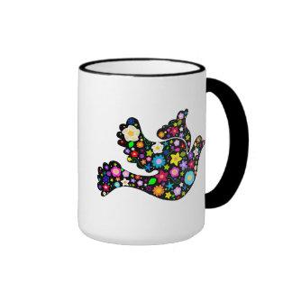 Paloma de las flores del verano tazas de café