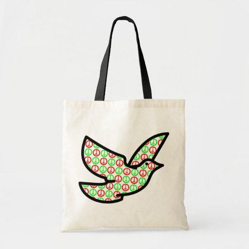 Paloma de los signos de la paz del día de fiesta bolsa