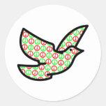Paloma de los signos de la paz del día de fiesta etiqueta redonda