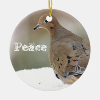 Paloma de luto adorno navideño redondo de cerámica