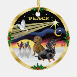 Paloma de Navidad - dos Dachshunds Adorno Redondo De Cerámica