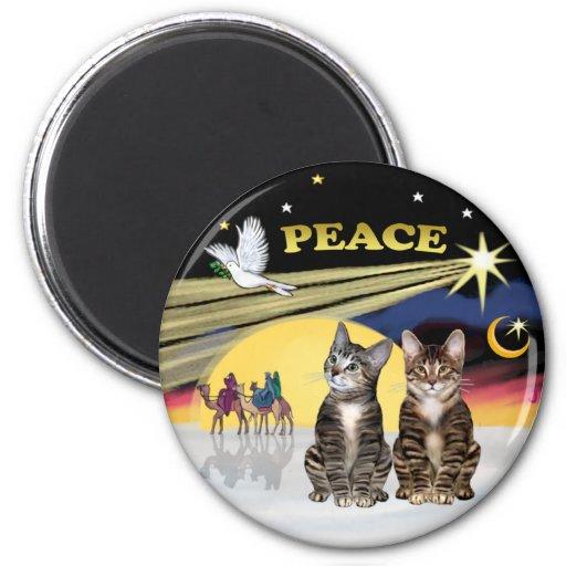 Paloma de Navidad - dos gatos de Tabby Imán Redondo 5 Cm
