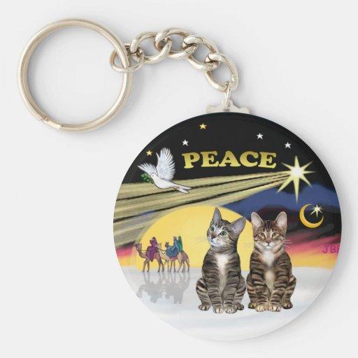 Paloma de Navidad - dos gatos de Tabby Llavero Redondo Tipo Pin