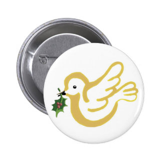 Paloma de oro de la paz pin redondo 5 cm