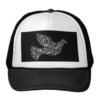 Paloma del amor del ángel, blanca en negro gorras de camionero