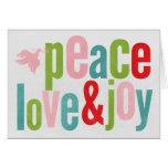 Paloma del amor y de la alegría de la paz colorida tarjeton
