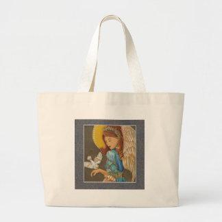 Paloma del ángel y del blanco bolsas de mano