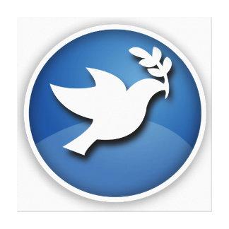 Paloma del azul y blanca de la paz impresión en lienzo