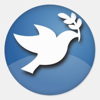 Paloma del azul y blanca de la paz etiqueta redonda