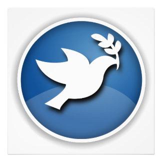 Paloma del azul y blanca de la paz impresiones fotográficas